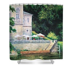 Chateau On The Lot River Shower Curtain
