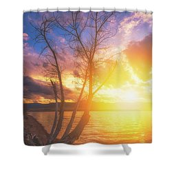 Shower Curtain featuring the photograph Chatfield Lake Sunset by Darren White
