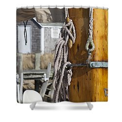 Shower Curtain featuring the photograph Chatham Old Salt by Charles Harden