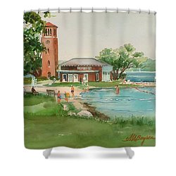 Chautauqua Bell Tower And Beach Shower Curtain