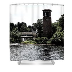 Chautauqua Institute Miller Bell Tower 2 With Ink Sketch Effect Shower Curtain