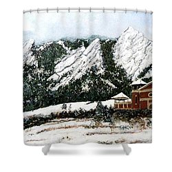 Shower Curtain featuring the painting Chautauqua - Winter, Late Afternoon by Tom Roderick