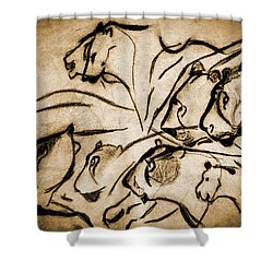 Chauvet Cave Lions Burned Leather Shower Curtain