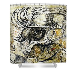 Chauvet Three Rhinoceros Shower Curtain