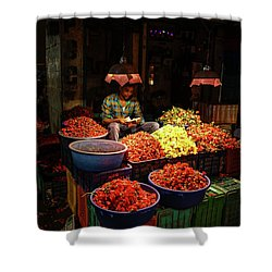 Shower Curtain featuring the photograph Cheannai Flower Market Colors by Mike Reid