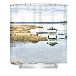 Chechessee Creek Dock Shower Curtain
