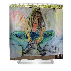 Checking Email Shower Curtain by Elizabeth Parashis