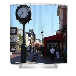 Checking Out The Shops In Cape May Shower Curtain by Rod Jellison