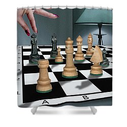 Checkmate Shower Curtain by Marty Garland