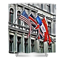 Checkpoint Charlie Shower Curtain by Juergen Weiss