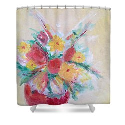 Cheerful Flower Arrangement Shower Curtain