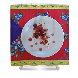 Shower Curtain featuring the digital art Cheese Cake With Cherries by Jana Russon