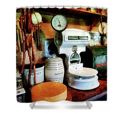 Cheese Sausage And Scale Shower Curtain by Susan Savad