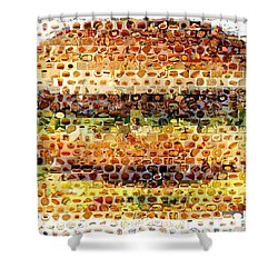 Shower Curtain featuring the mixed media Cheeseburger Fast Food Mosaic by Paul Van Scott