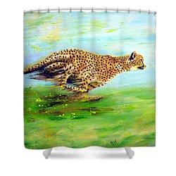 Cheetah At Speed Shower Curtain