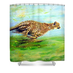 Cheetah At Speed Shower Curtain