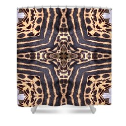 Cheetah Cross Shower Curtain by Maria Watt