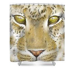 Shower Curtain featuring the digital art Cheetah Face by Darren Cannell