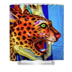 Cheetah Ride Portrait Shower Curtain