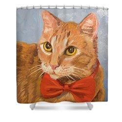 Cheetoh Cat Portrait Shower Curtain by Alice Leggett