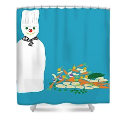 Chef Snowman Shower Curtain by Barbara Moignard