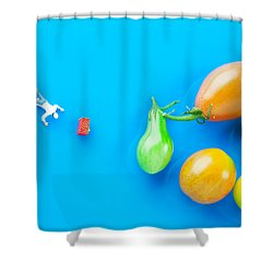 Shower Curtain featuring the painting Chef Tumbled In Front Of Colorful Tomatoes II Little People On Food by Paul Ge