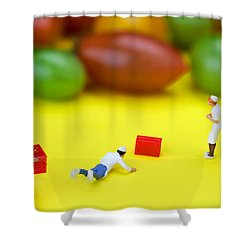 Shower Curtain featuring the painting Chef Tumbled In Front Of Colorful Tomatoes Little People On Food by Paul Ge