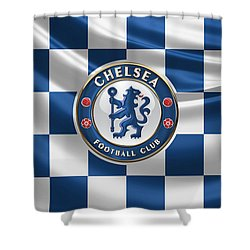 Chelsea F C - 3 D Badge Over Flag Shower Curtain by Serge Averbukh