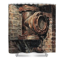 Chelsea Market Pipe Shower Curtain by Joey Agbayani