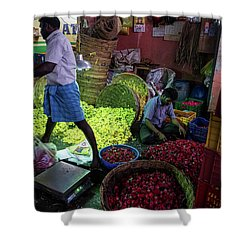 Shower Curtain featuring the photograph Chennai Flower Market Busy Morning by Mike Reid