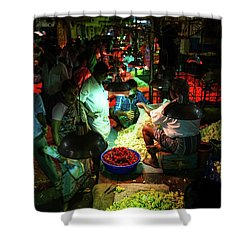 Shower Curtain featuring the photograph Chennai Flower Market Stalls by Mike Reid