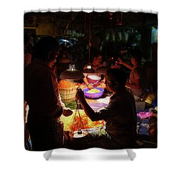 Shower Curtain featuring the photograph Chennai Flower Market Transaction by Mike Reid