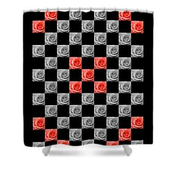 Chequered Rose Shower Curtain by Hazy Apple