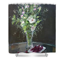 Cherries And Flowers For Her IIi Shower Curtain