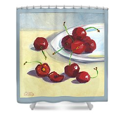 Cherries On A Plate Shower Curtain
