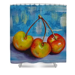 Cherries Trio Shower Curtain by Janet Garcia