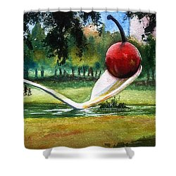 Cherry And Spoon Shower Curtain by Marilyn Jacobson