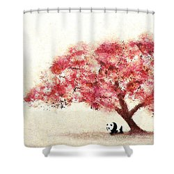 Cherry Blossom And Panda Shower Curtain