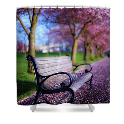 Shower Curtain featuring the photograph Cherry Blossom Bench by Darren White