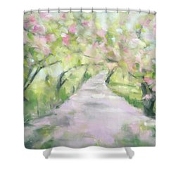 Cherry Blossom Bridle Path Central Park Shower Curtain
