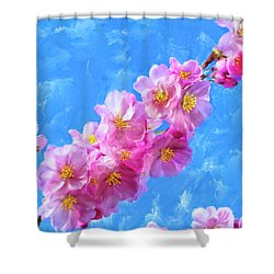 Shower Curtain featuring the painting Cherry Blossom Pink - Impressions Of Spring by Mark Tisdale