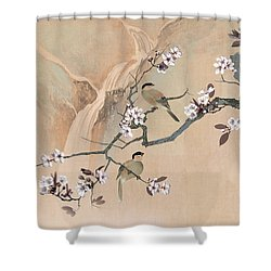 Cherry Blossom Tree And Two Birds Shower Curtain