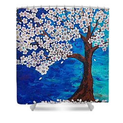 Shower Curtain featuring the painting Cherry Blossom Tree  by Jennah Lenae