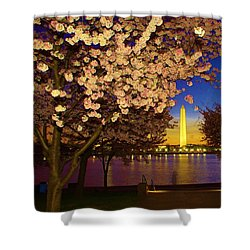 Cherry Blossom Washington Monument Shower Curtain