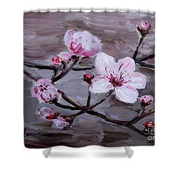 Shower Curtain featuring the painting Cherry Blossoms by Maria Langgle