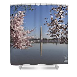 Cherry Blossoms Monument Shower Curtain by April Sims