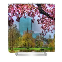 Shower Curtain featuring the photograph Cherry Blossoms Over Boston by Joann Vitali