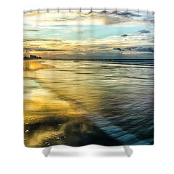 Cherry Grove Golden Shimmer Shower Curtain by David Smith