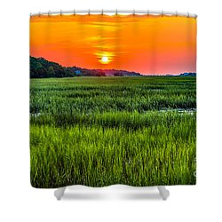 Cherry Grove Marsh Sunrise Shower Curtain by David Smith