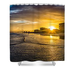 Cherry Grove Sunset Shower Curtain by David Smith